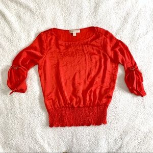 Michael Kors Buckle Sleeve Red Blouse Small